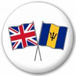 Great Britain and Barbados Friendship Flag 25mm Pin Button Badge